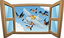 Wandtattoo Kinder Fenster Dumbo OEM 1015, 100x60cm