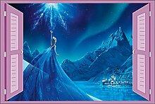 Wandtattoo Kinder Fenster Frozen Die Eiskönigin OEM 952, 120x80cm