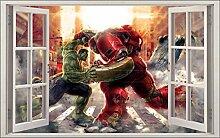 Wandtattoo Kinder Fenster Hulk Vs Hulkbuster OEM 1060, 120x75cm
