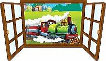 Wandtattoo Kinder Fenster Lokomotive OEM 3930, 110x63cm