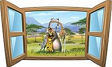 Wandtattoo Kinder Fenster Madagaskar OEM 977, 60x36cm