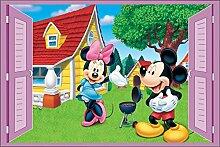 Wandtattoo Kinder Fenster Mickey und Minnie OEM 948, 120x80cm