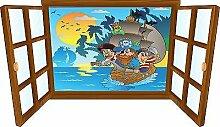 Wandtattoo Kinder Fenster Pirat OEM/, 130x75cm
