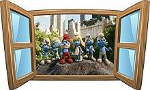 Wandtattoo Kinder Fenster Schlümpfe OEM 961, 120x72cm