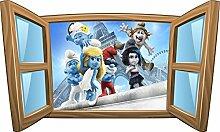 Wandtattoo Kinder Fenster Schlümpfe OEM 997, 60x36cm