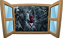 Wandtattoo Kinder Fenster Spiderman Man OEM 969, 80x48cm