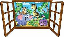 Wandtattoo Kinder Fenster Tiere des Dschungels OEM 3901, 130x75cm