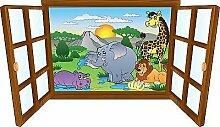 Wandtattoo Kinder Fenster Tiere lachenden OEM 3904, 90x52cm