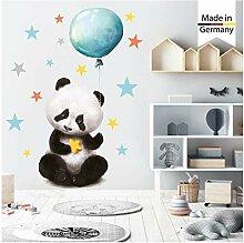 Wandtattoo Kinderzimmer bunt Panda Bär Luftballon