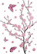 Wandtattoo Kirschblüten mit Schmetterlingen
