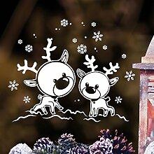 """Wandtattoo Loft Fensterbild """"Elche Rentiere im Schnee"""" aus weißer mattglänzender Vinylfolie, konturgeschnitten- OHNE hässliche Hintergrundfolie, 2 Größen zur Auswahl Fensteraufkleber Weihnachten Dekoration/hergestellt in und Versand aus Deutschland / / 55 cm hoch x 69 cm brei"""