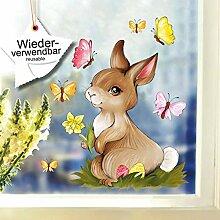 Wandtattoo-Loft Fensterbild Hase mit Blume und
