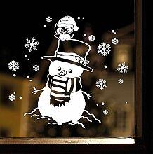 """Wandtattoo Loft Fensterbild """"Schneemann mit Eule"""" aus weißer mattglänzender Vinylfolie, konturgeschnitten- OHNE hässliche Hintergrundfolie, 2 Größen zur Auswahl Fensteraufkleber Weihnachten Dekoration / / 35 cm x 37 cm"""
