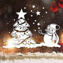 """Wandtattoo Loft Fensterbild """"Schneemann mit Weihnachtsbaum"""" aus weißer mattglänzender Vinylfolie, konturgeschnitten- OHNE hässliche Hintergrundfolie, 2 Größen zur Auswahl Fensteraufkleber Weihnachten Dekoration / / 55 cm hoch x 73 cm brei"""