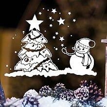 """Wandtattoo Loft Fensterbild """"Schneemann mit Weihnachtsbaum"""" aus weißer mattglänzender Vinylfolie, konturgeschnitten- OHNE hässliche Hintergrundfolie, 2 Größen zur Auswahl Fensteraufkleber Weihnachten Dekoration / / 35 cm hoch x 46 cm brei"""