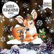 Wandtattoo Loft Fensterbild Weihnachten Hase und