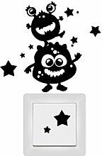 Wandtattoo Loft Lichtschaltersticker Monster Kinderzimmer Sterne / Aufkleber /Sticker / Wandaufkleber / Steckdosenaufkleber / 29 Farben / dunkelgrün /