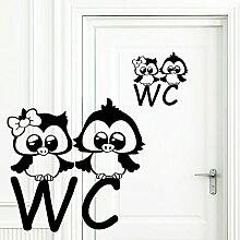 """Wandtattoo Loft """"WC Aufkleber Zwei Eulen –"""