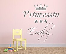 Wandtattoo mit Namen ~ Prinzessin mit Krone und