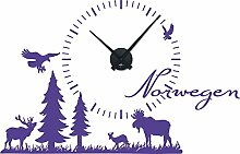 Wandtattoo mit Uhr–Norwegische Landschaft