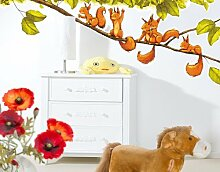 WandTattoo No.663 Eichhörnchen jubeln 131x50cm Wand Sticker, Kinderzimmer, Tiere, Wald, Hazel Nut, Familie