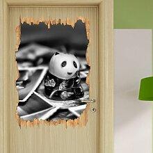 Wandtattoo Panda Figur zwischen Fotografien in