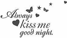 Wandtattoo Schlafzimmer Spruch Always kiss me Good