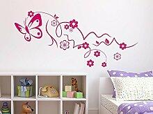 Wandtattoo Schmetterling mit Blumen Wohnzimmer
