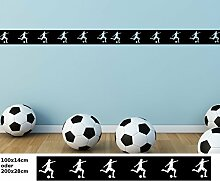 Wandtattoo selbstklebend Bordüre Fussball Ball Sport Fliesenaufkleber Border Set Aufkleber Banner Wohnzimmer 1U055, Farbe:Beige glanz;Länge x Breite:100cm x 14cm