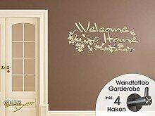 Wandtattoo Tattoo Garderobe inkl. 4 Haken für Flur Spruch Welcome Home Blumen (100x45cm // 071 grau)