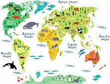 Wandtattoo tierische Weltkarte 160x120 cm bunt