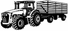 Wandtattoo Traktor mit Anhänger Trecker Kinderzimmer Kinder Wandaufkleber in 8 Größen und 20 Farben (70x29cm schwarz)