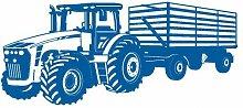 Wandtattoo Traktor mit Anhänger Trecker Kinderzimmer Kinder Wandaufkleber in 8 Größen und 20 Farben (70x29cm enzian)