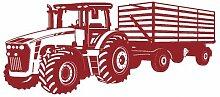 Wandtattoo Traktor mit Anhänger Trecker Kinderzimmer Kinder Wandaufkleber in 8 Größen und 20 Farben (70x29cm dunkelrot)