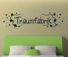 Wandtattoo Traumfabrik Spruch Aufkleber Stern Schlafzimmer Kinderzimmer 1D176, Farbe:Schwarz glanz;Motiv Länge:100cm