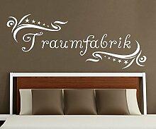 Wandtattoo Traumfabrik Spruch Traum Aufkleber Schlafzimmer Kinderzimmer 1D179, Farbe:Königsblau Matt;Motiv Länge:100cm