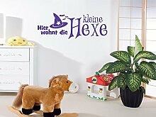 Wandtattoo Türaufkleber Tür für Kinderzimmer Spruch Hier wohnt die kleine Hexe (135x50cm//043 lavendel)