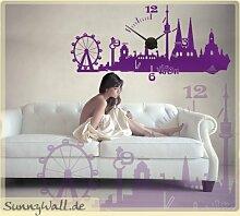 Wandtattoo Uhr KARLSSON Wanduhr Skyline Wien Farbe Hortensienlila (Lila)