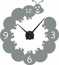 Wandtattoo Uhr Kinder Wanduhr mit Uhrwerk für Kinderzimmer lustige Raupe (Uhrwerk schwarz//074 mittelgrau)