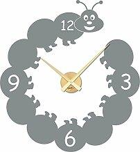 Wandtattoo Uhr Kinder Wanduhr mit Uhrwerk für Kinderzimmer lustige Raupe (Uhrwerk gold//074 mittelgrau)