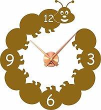 Wandtattoo Uhr Kinder Wanduhr mit Uhrwerk für Kinderzimmer lustige Raupe (Uhrwerk kupfer//092 kupfer)
