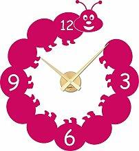 Wandtattoo Uhr Kinder Wanduhr mit Uhrwerk für Kinderzimmer lustige Raupe (Uhrwerk gold//041 pink)