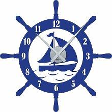 Wandtattoo Uhr mit Uhrwerk Wanduhr Badezimmer Steuerrad Schiff Maritim (Uhr Silber//086 Brillantblau)