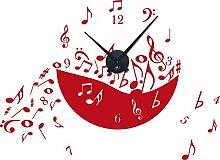 Wandtattoo Uhr mit Uhrwerk Wanduhr modern Musik–Noten Noten–Chaos Deko für Wohnzimmer, rot, Horloge noire