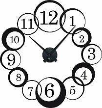 Wandtattoo Uhr mit Uhrwerk Wanduhr Wohnzimmer Retro Kreise Ziffern (Uhr Schwarz//070 Schwarz)
