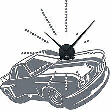 Wandtattoo Uhr Wanduhr Auto Car: Classic Oldie Oldtimer für Ihr Wohnzimmer (Uhr Schwarz//071 grau)