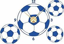 Wandtattoo Uhr Wanduhr mir Uhrwerk für Kinderzimmer Fußbälle Sport Zahlen (Uhrwerk gold//052 azurblau)