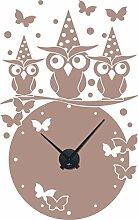 Wandtattoo Uhr Wanduhr mit Uhrwerk für Kinderzimmer Eulen Schmetterlinge Punkte (91x57cm // 823 antique violet // Uhrwerk schwarz)