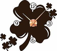 Wandtattoo Uhr Wanduhr mit Uhrwerk für Wohnzimmer Glücksklee Kleeblatt (Uhrwerk kupfer//080 braun)