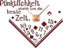 Wandtattoo Uhr Wanduhr mit Uhrwerk für Wohnzimmer Spruch Pünklichkeit (Uhrwerk kupfer//030 dunkelrot)